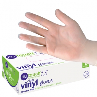 Caretouch Lite Clear Vinyl Powder Free Disposable Gloves- Large
