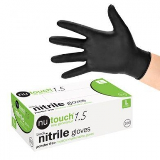 Nutouch 1.5 Black Nitrile Powder Free Disposable Gloves- Large